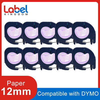 10pk Compatible Dymo Letratag Refill 16952 Clear Plastic Label Tape 12mm Lt-100h