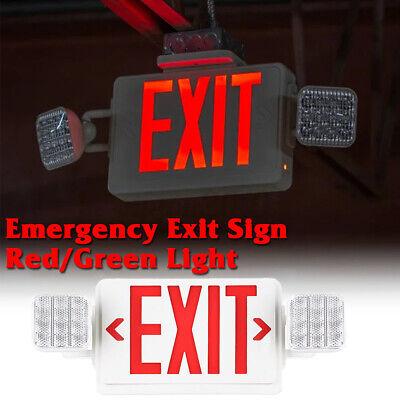 Dual Led Exit Sign Emergency Light-redgreen Compact Combo Ul Comborjr2