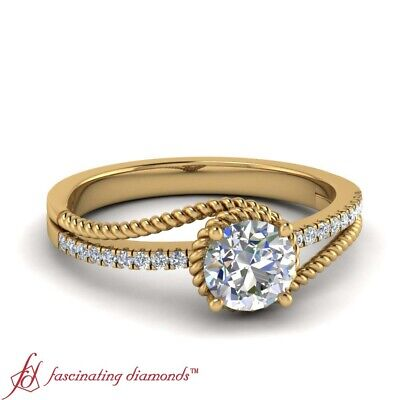 1/2 Carat Round Cut Diamond Twisted Rope Pattern Engagement Ring In Yellow Gold