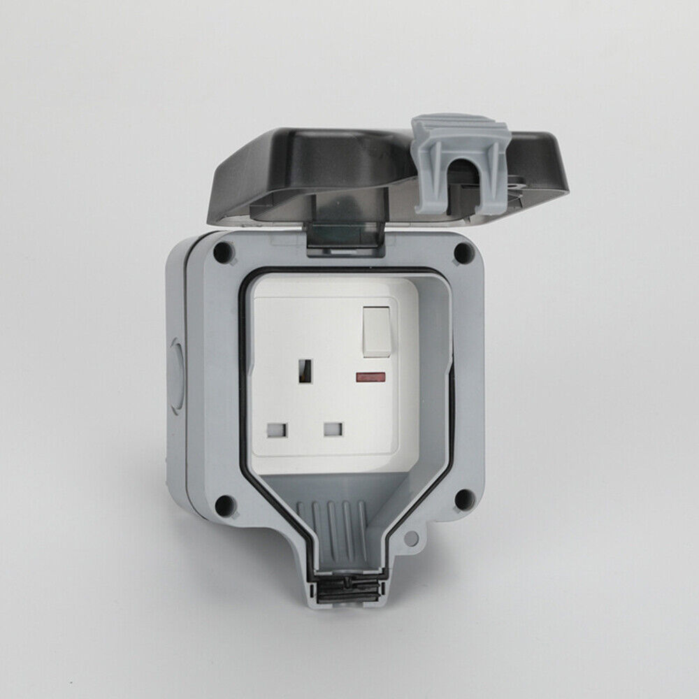 13a 1 Gang Waterproof Outdoor Storm Switched Socket Single