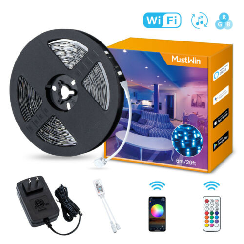 20ft Wifi Alexa LED Strip Lights Sync Music 5050 RGB Remote