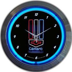 Gm Camaro Red, White & Blue Neon Clock 15x15