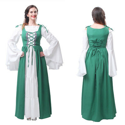 Women Renaissance Medieval Irish Pirate Wench Costume Over Dress Boho Chemise