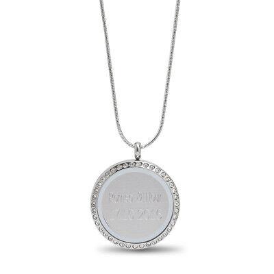 Elegante Strass Round Runde Anhänger Halskette Silber mit GRAVUR Namen und Text