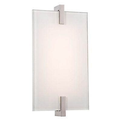 Kovacs P1110-613-L Modern LED Sconce Wall Light Glass & Brushed Nickel Finish Brushed Nickel Finish Sconce