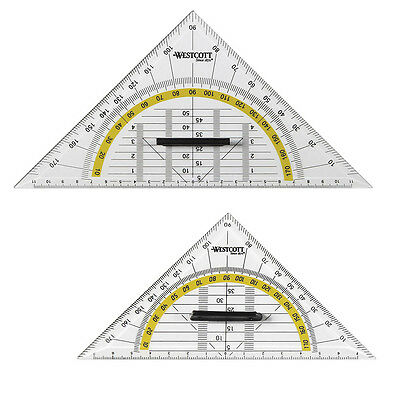 2 Stück Geodreieck Groß + Klein mit Griff WESTCOTT Geometrie Dreieck