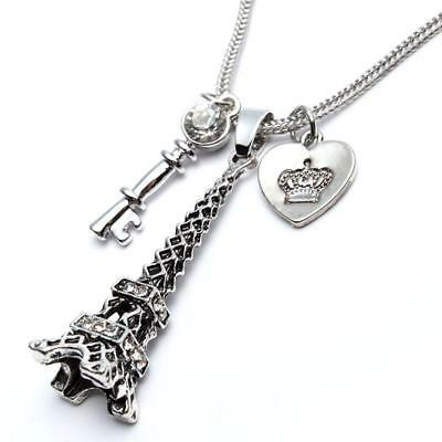 Paris Necklace Long Pendant Heart Key Crown Eiffel Tower Women Girl Gift Her NEW](Eiffel Tower A Girl)