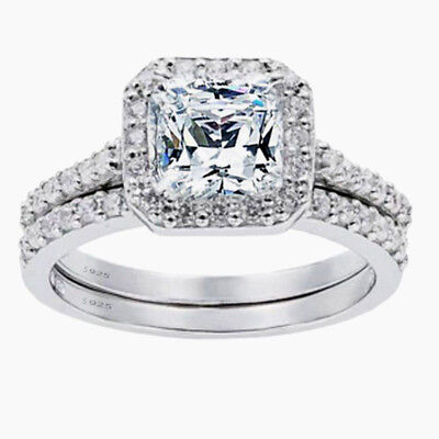 Women's 1.8 CTW Princess Cut 925 Sterling Silver CZ Wedding Engagement Ring Set
