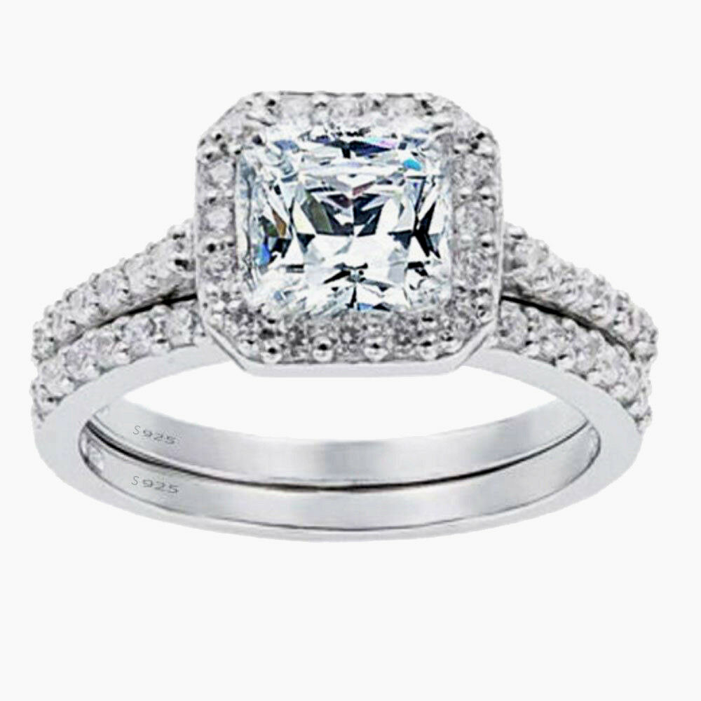 Women's 1.8 CTW Princess Cut 925 Sterling Silver CZ Wedding Engagement Ring Set