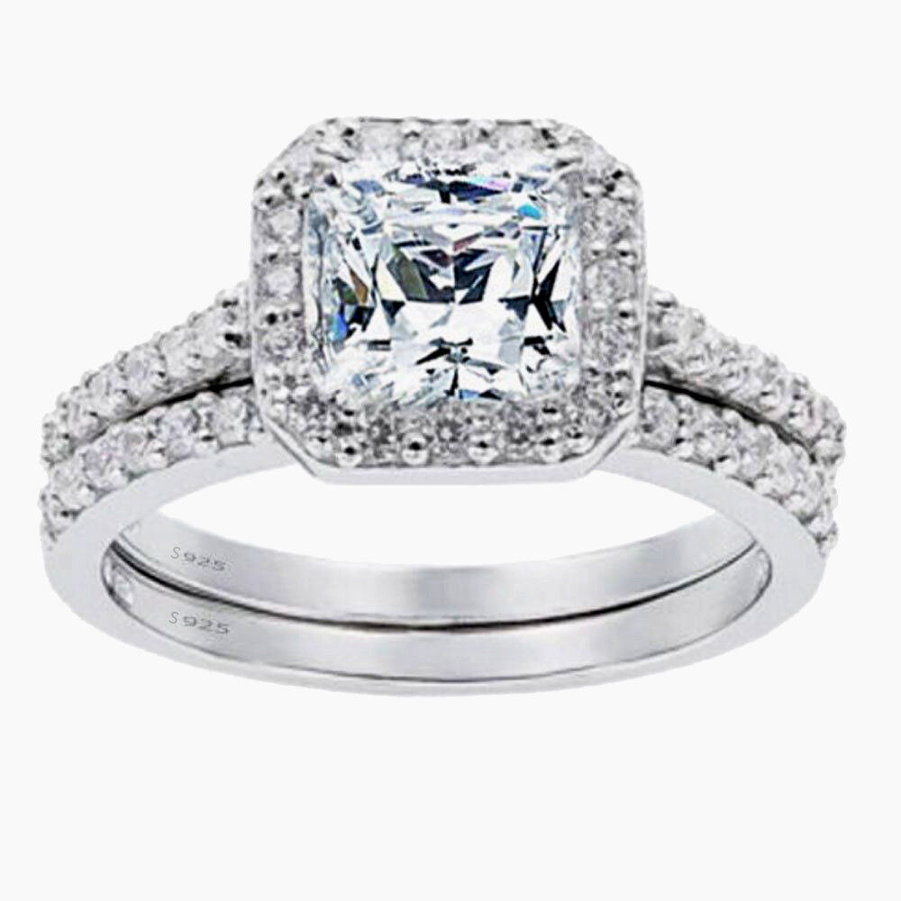 Jewellery - Women's 1.8 CTW Princess Cut 925 Sterling Silver CZ Wedding Engagement Ring Set