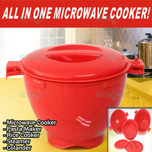 NEW All in One Microwave Cookware - Rice Cooker, Pasta Maker, Steamer, Colander