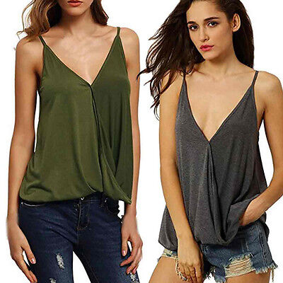 Womens Summer Sexy Sleeveless Cami Loose Sexy Tank Crop Tops Vest Blouse T-Shirt