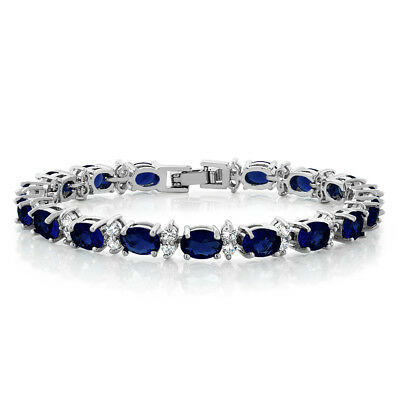 20.00 Ct Oval & Round Blue Color Cubic Zirconias CZ Tennis Bracelet 7""