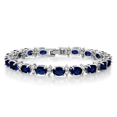 Bracelet - 20.00 Ct Oval & Round Blue Color Cubic Zirconias CZ Tennis Bracelet 7""