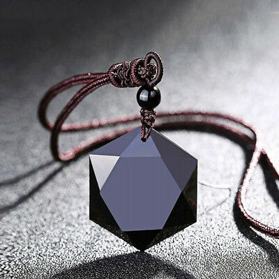 Black Hexagram Obsidian Gemstone Pendant Hand Carved Stone Necklace Jewelry Hand Carvings Pendants