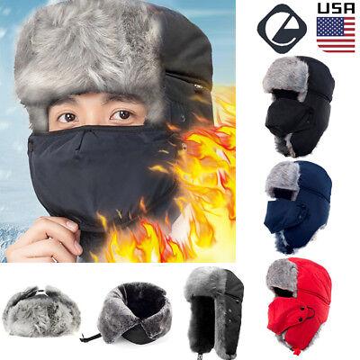 Mens Trapper Winter Hat Face Mask Warm Earflap Aviator Russian Trooper Ski - Mens Trapper Hats