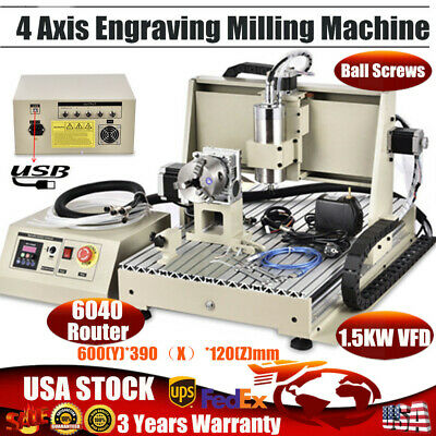 Usb 4 Axis 6040 Router Engraver Machine Engraving Milling Woodworking 1.5kw Vfd