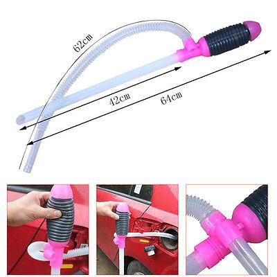Manual Car Siphon Hose Liquid Gas Oil Water Transfer Hand Pump Sucker Portable