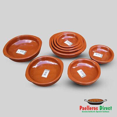 Set of 4 x Spanish Terracotta Tapas Dishes / Cazuelas - 10cm, 12cm, 14cm & 16cm