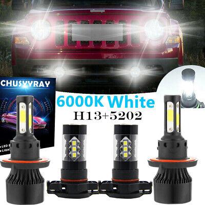 For Jeep Patriot Wrangler 2011-2017 -4Side H13 LED Headlight Bulb+2504 Fog Light