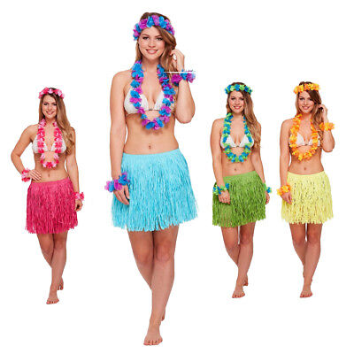 Adult Blue HAWAIIAN HONEY GIRL 5pc Fancy Dress Costume Set Summer Party One