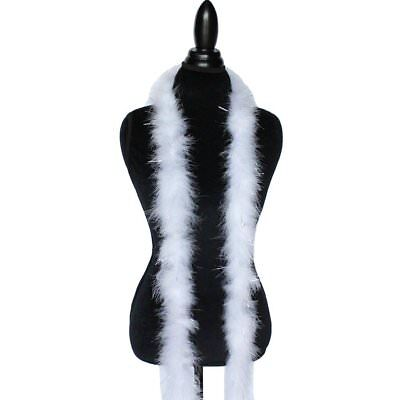 - White w/ Silver Tinsel 22 Grams Marabou Feather Boa 6 Feet Long Sewing Trim