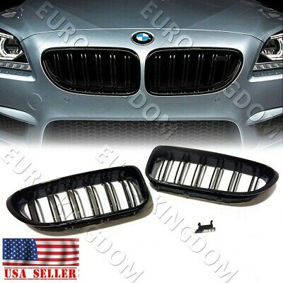 For 11-18 BMW F06 640i 650i M6 Gran Coupe GLOSS Black Grill Front Kidney Grille