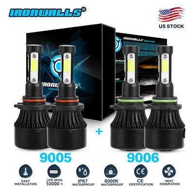 4-sides 9005+9006 CREE LED Headlights Conversion Kits total 3400W 510000LM Hi/Lo