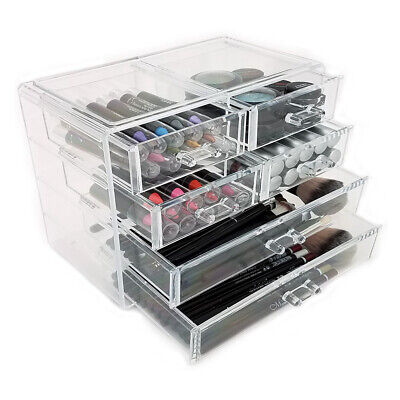 NEW! DELUXE MAKEUP/JEWELRY ORGANIZER - ACRYLIC 6 DRAWER TIERED COSMETIC DISPLAYS