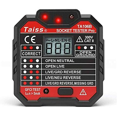 New Advanced With Voltage Display Gfci Outlet Tester 48-250v Power Socket Wall