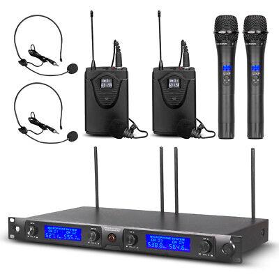 2 Channel Wireless Headset (UHF 4 Channel Wireless Microphone System 2 Handheld Dynamic Lapel Mic 2 Headset )