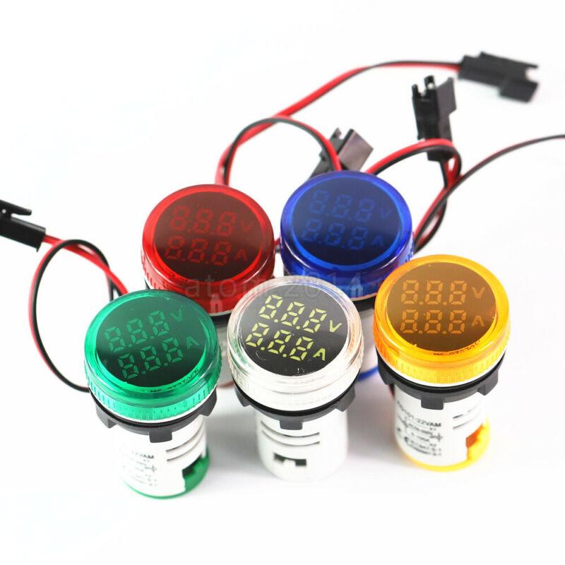 22mm Panel Installation LED Light Digital Display Voltmeter Ammeter Tester