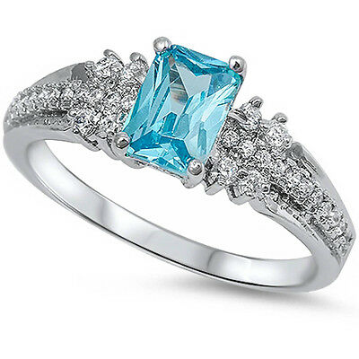 Blue Topaz Radiant Ring - Radiant Cut Blue Topaz & Cz .925 Sterling Silver Ring Sizes 4-12
