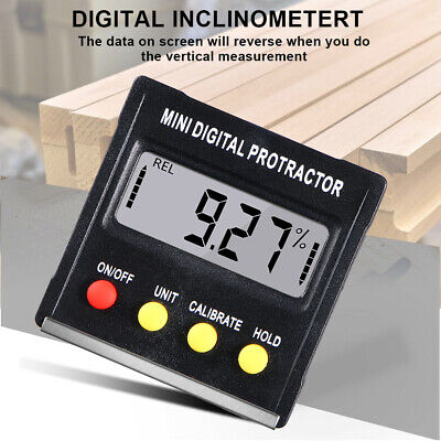 90digital Lcd Inclinometer Level Box Protractor Angle Finder Bevel Gauge Magnet