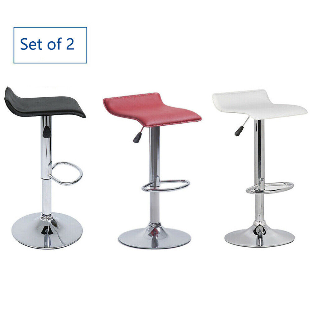 Set of 2 Bar Stools Adjustable Leather Counter Swivel Bistro Pub Dining Chair Benches, Stools & Bar Stools