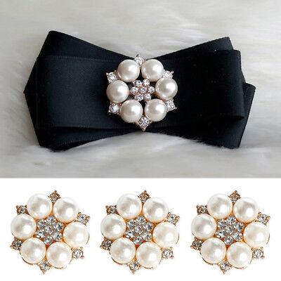 Rhinestone Pearl Crystal Flower Flatback Buckle Wedding Embellishment Hair (Flower Embellishment)