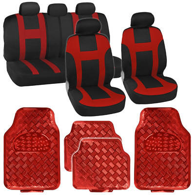 - Two Tone Red Monaco Racing Stripe Seat Cover and Red Diamond Plate Rubber Mats