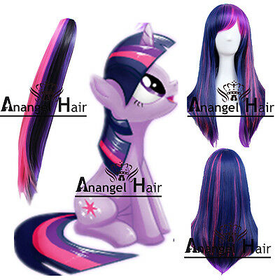 My Little Pony Twilight Sparkle Wig Tail Ponytail Costume Set Full Wigs Party - My Little Pony Twilight Sparkle Costume