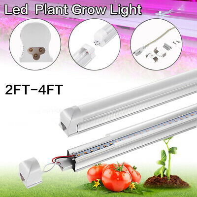 Led Plant Grow Light Tube Full Spectrum Pot Plant Hydroponics 2FT-4FT T8 + Clamp
