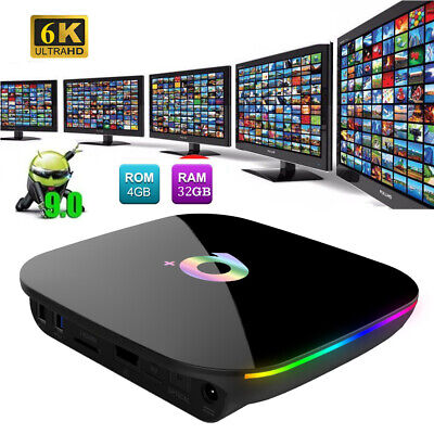 Q plus 6K 4GB+32GB Android 9.0 Smart TV Box Quad-Core WIFI 4K HD 3D Media Player