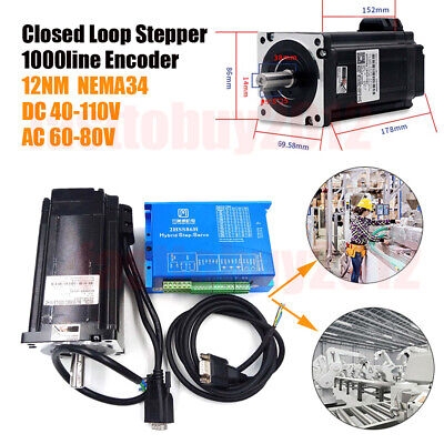 1712oz-in Closed Loop Stepper Motor Nema34 12nm Hybrid Servo Driver 2hss86h Kits