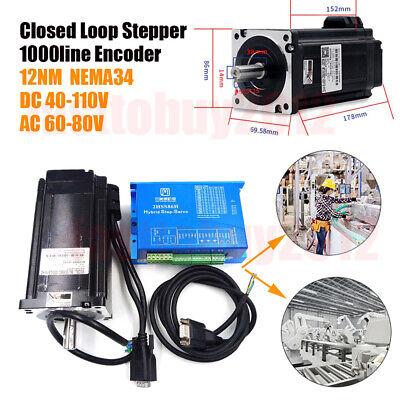1712oz-in Closed Loop Stepper Motor Nema34 12nm Hybrid Servo Driver 2hss86h Kits