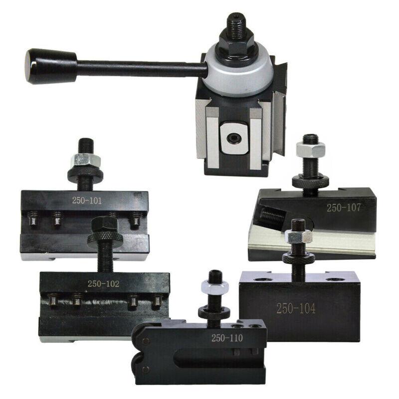 "New AXA Size 250-100 Set Piston Type Quick Change Tool Post Set for 6-12"" Lathe"