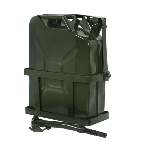 2x Jerry Can Fuel Tank w/ Holder Steel 5Gallon 20L Nato Style Military Green