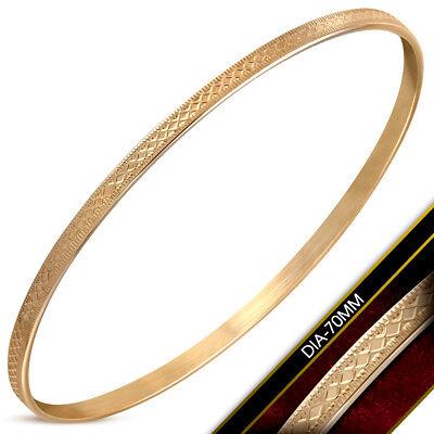 Damen Armreif Bracelet Edelstahl Rosegold mit Edlem Muster 3,5mm Breit