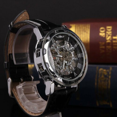 Mens Watches - Classic Men's Black Leather Dial Skeleton Mechanical Sport Army Wrist Watch New