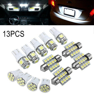 13x White LED Light Interior Package T10 & 31mm Festoon Map Dome License Plate