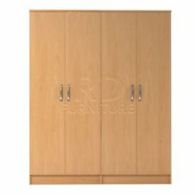 Beatrice 4 door wardrobe beech effect
