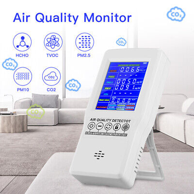 Air Quality Monitor Formaldehyde Hcho Tvoc Pm2.5 Pm10 Co2 Lcd Digital Detector