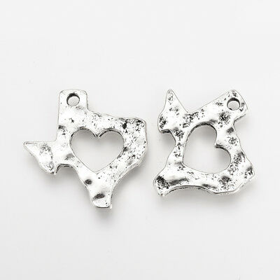 2 Texas Charms Pendants State of Texas Highly Detailed Lone Star Heart Silver